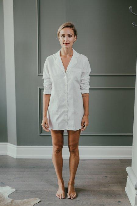 KIP. Jacquard Nightshirt Sleepwear - White