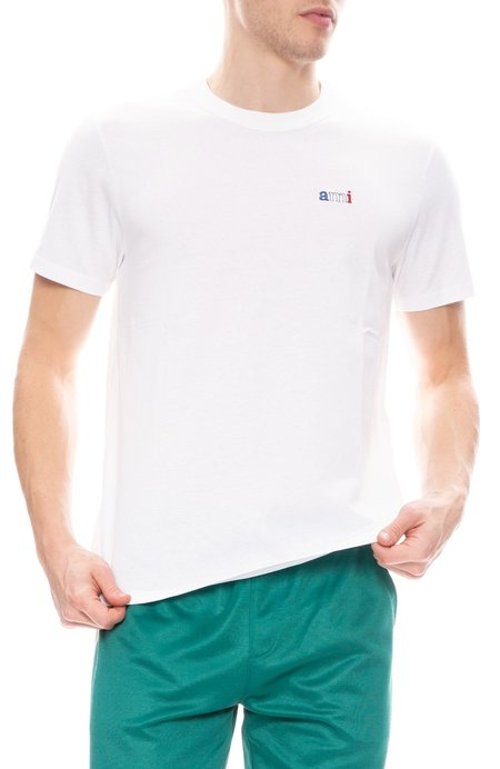 AMI Embroidered Ami Tee - White