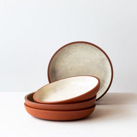 Léa & Nicolas Set of 4 Shallow Stoneware Plates - Terracota/White