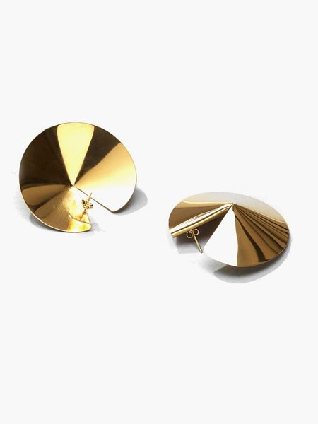 Gaviria Mini Fortune Cookie Earrings - Gold