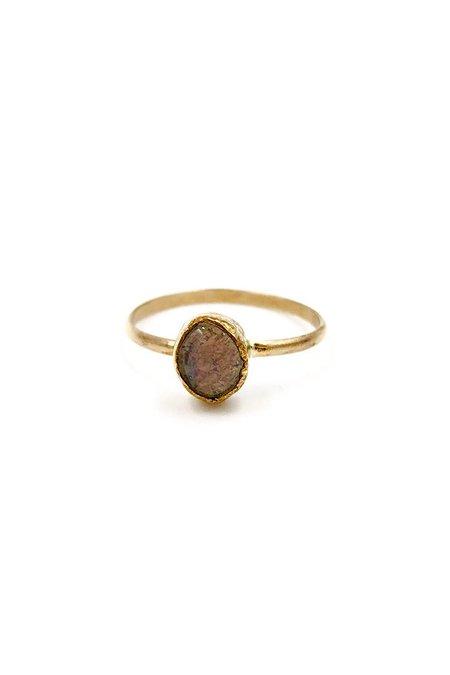 Broken Arrow Fire Opal Tucson Ring - Gold