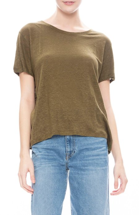 Majestic Filatures Linen and Mesh Short Sleeve Shirt - Khaki