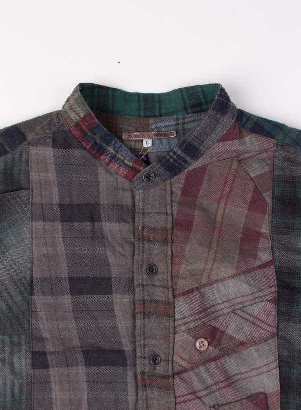 Band Collar Flannel Black Overdye (LARGE B)