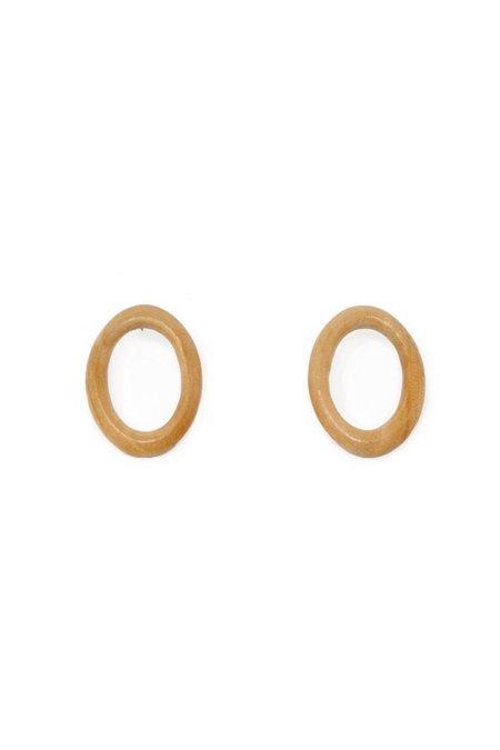 Sophie Monet Minimal Ring Earrings - Wood