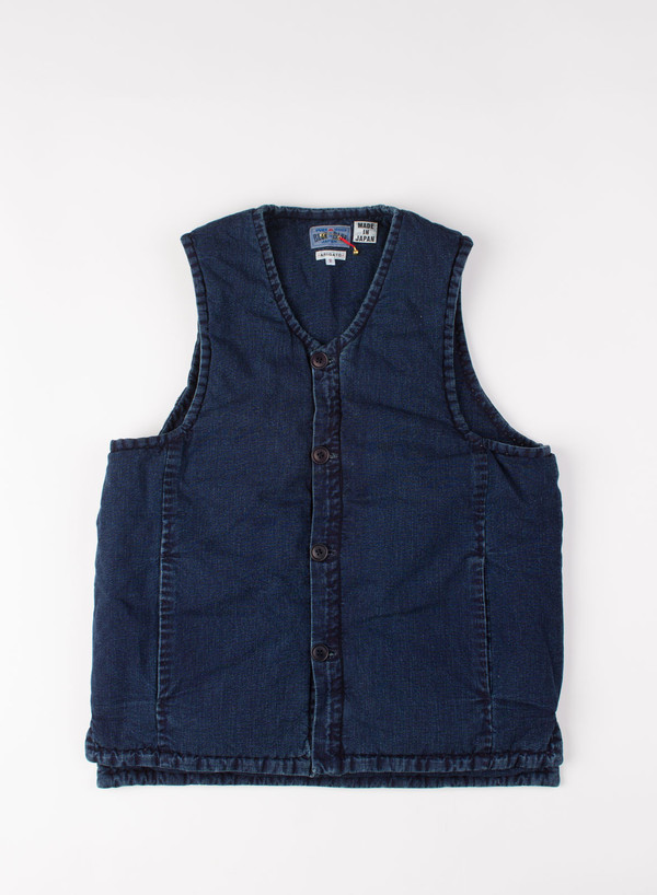 Men's Blue Blue Japan Indigo Puffy Over Vest