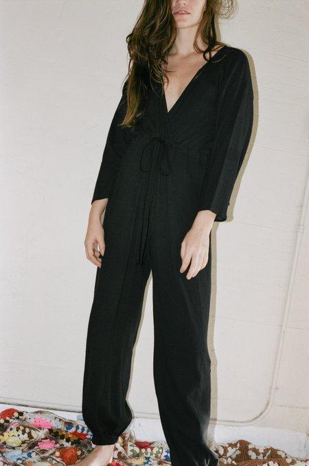 Electric Feathers Kimono Jumpsuit - Black with Obi Belt
