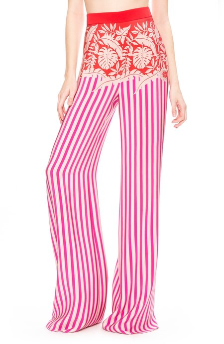Cushnie Et Ochs High Waist Wide Leg Pants - Tropical Stripe Border Print