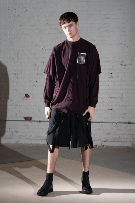 Komakino Rover Double Layer Long Sleeve Top - Burgundy