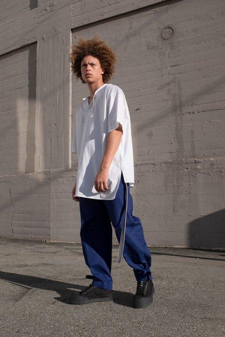 Marni Wide Buckle Hem Trouser - Cobalt Blue