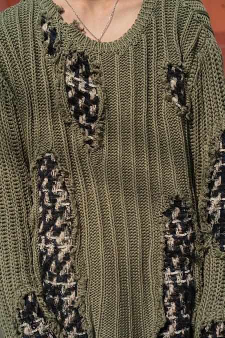 Faith Connexion Destroyed Patched Tweed Knit Pullover - green