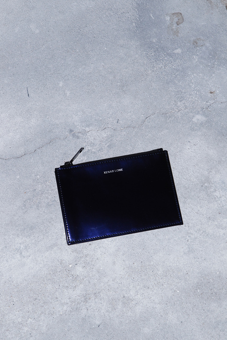 XENAB LONE IRON CALFSKIN COIN POUCH - BLUE