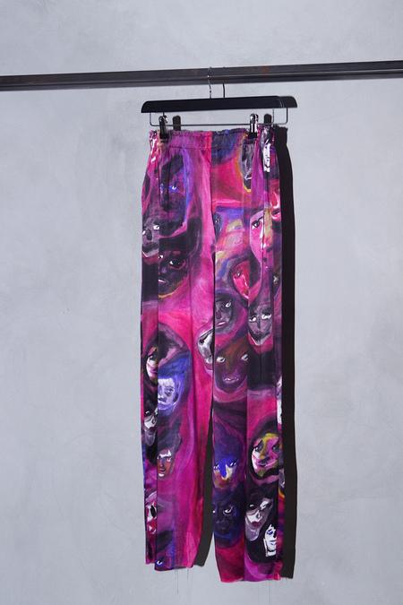 CLAIRE BARROW SILK PRINT WIDE LEG PANTS - PINK/PURPLE