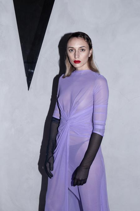 AUNÉ MESH DRAPED DRESS - LILAC