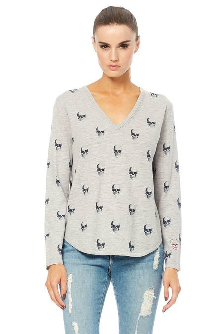 360 Cashmere Aya Low V-Neck Cotton Long Sleeve Tee - Light Heather Grey/Charcoal