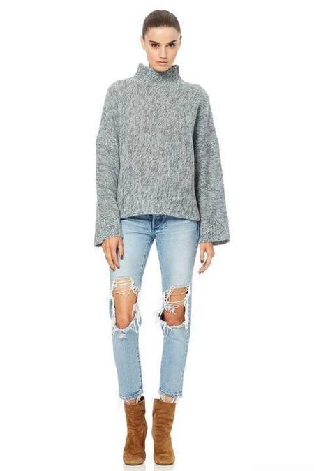 360 Cashmere Otelle Sweater - Charcoal/Sea Foam/Light Heather Grey