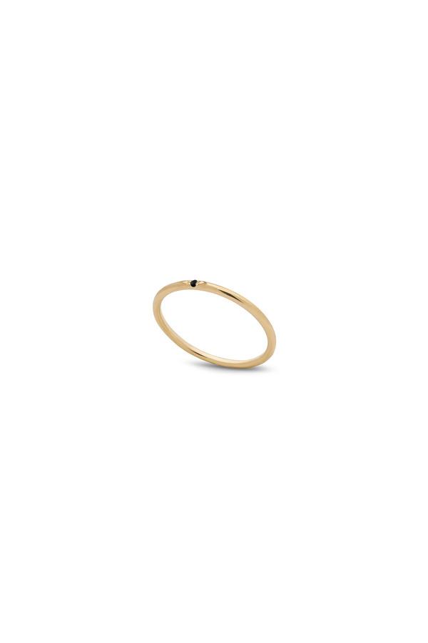 Kara Yoo Single Stone Petite Ring 14KYG - Black Diamond