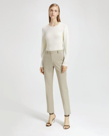 Theory Double Stretch Cotton Tailored Trouser - Beige