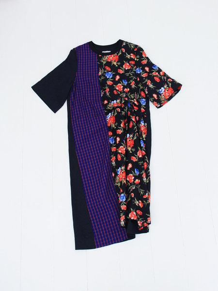 ffiXXed Studios Patchwork T-Shirt Dress - Black Floral/Blue Bright Pink Check/Dark Navy