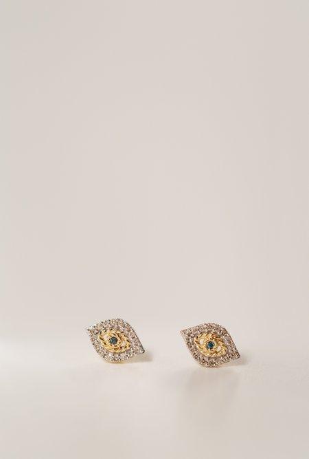 Adina Reyter Super Tiny Pave Evil Eye Earrings - 14k Gold/White Diamonds