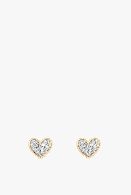 Adina Reyter Super Tiny Pave Folded Heart Earrings - 14k Gold/White Diamonds