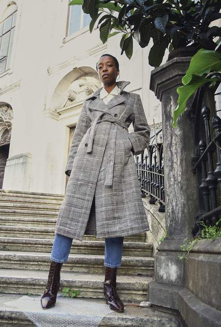 Yuka Paris Maïla Plaid Coat - Grey