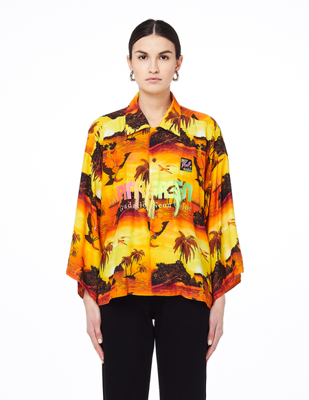 Unisex Doublet Embroidered Cropped Shirt - Sunset Print