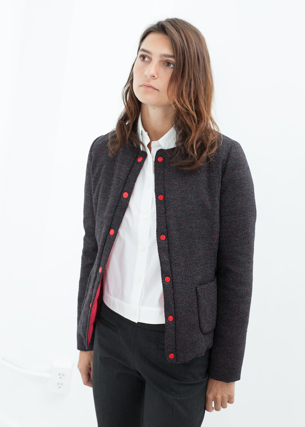 Lardini Camelia Reversible Jacket in Black/Red