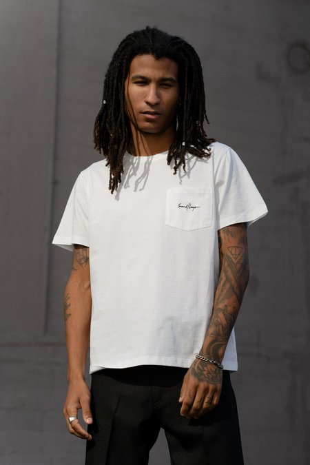 SECOND/LAYER Elevated Essential Classic Pocket Tee - White