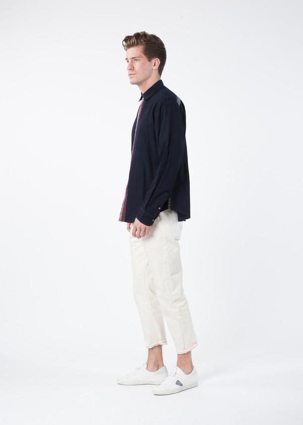 Men's Pero Center Stripe Wool Shirt