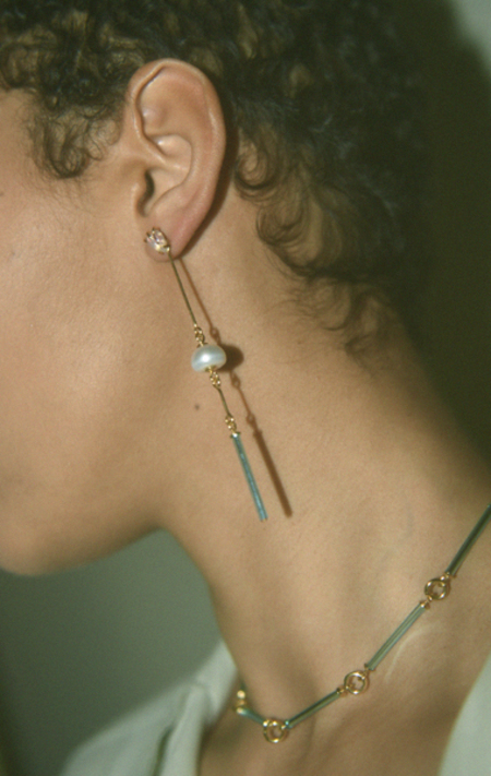 Beatriz Palacios Blue Glass and Pearl Earrings - 18K Gold Plated