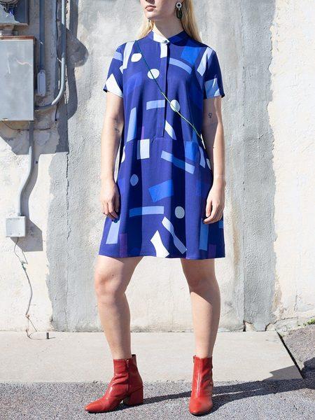 Dusen Dusen Oversize Tee Dress - Blue Mobile Print
