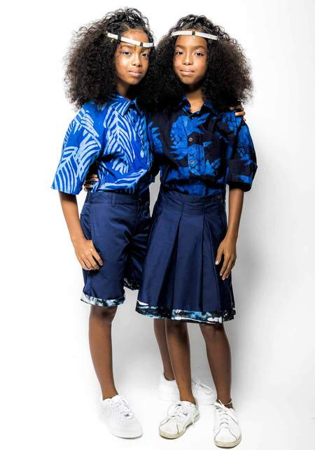 Unisex Studio One Eighty Nine Andy Hand-Batik Cotton Button Down Short Sleeve Shirt - Blue Palm Leaf