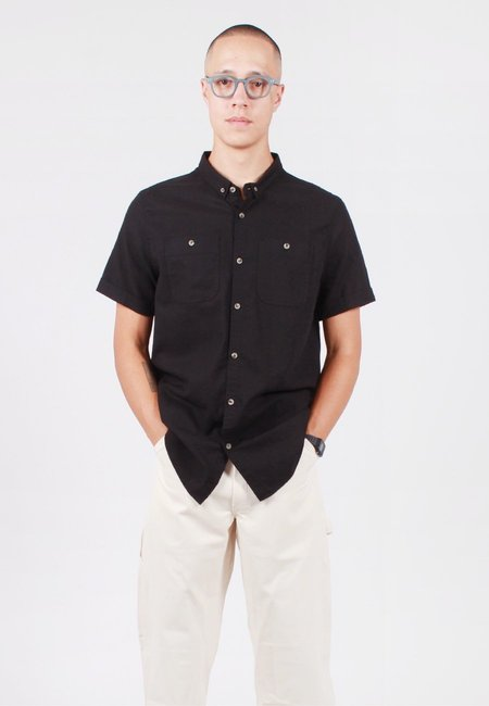 Rollas Men At Work Linen Short Sleeve Shirt - Black