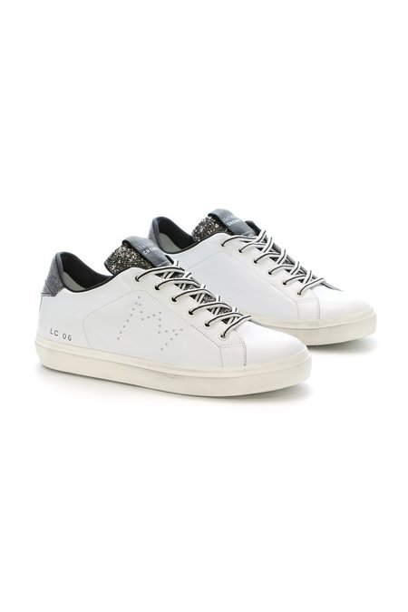 Leather Crown Classic Low Top Sneaker - White/Black Glitter