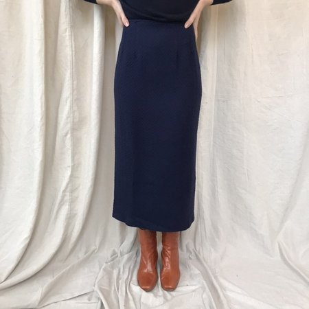 Cocobolo Vintage wool boucle pencil skirt - Navy Blue