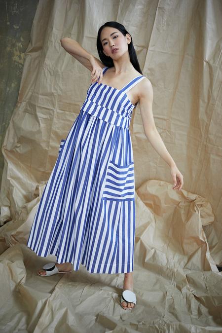 WHiT Pocket Dress in Blue/White Vertical Stripes
