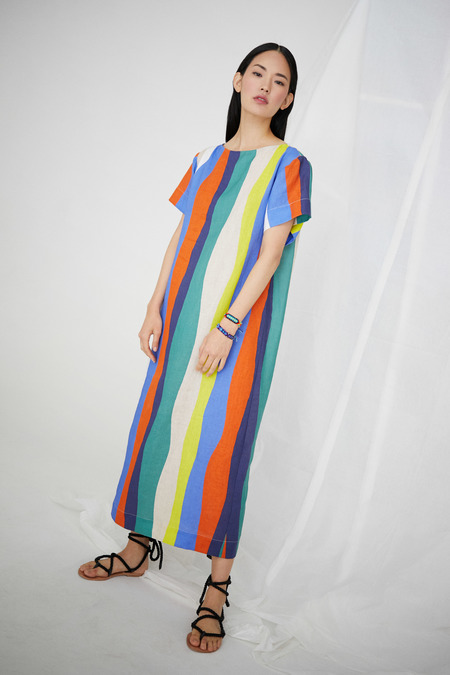 WHiT Sonora Dress in Rainbow/Multi Large Wavy Stripes