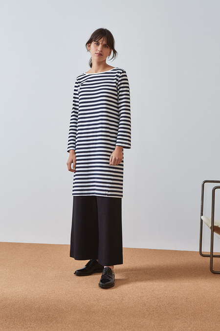 Kowtow Building Block Breton Dress in Navy White Stripe