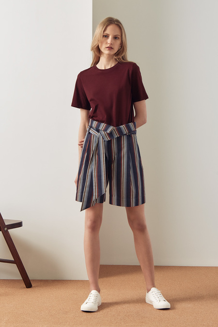 Kowtow Fold Over Shorts in Stripe