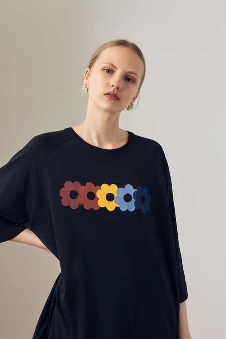 Kowtow Rainbow Tee Shirt Dress in Black