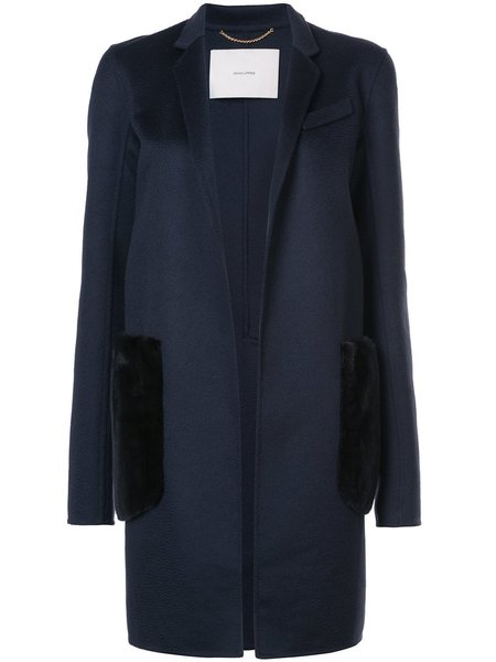 Adam Lippes Zibelline Cashmere Coat W/ Mink Pockets - Navy/Black