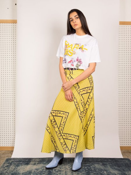 Ganni Silk Mix Skirt - Minion Yellow