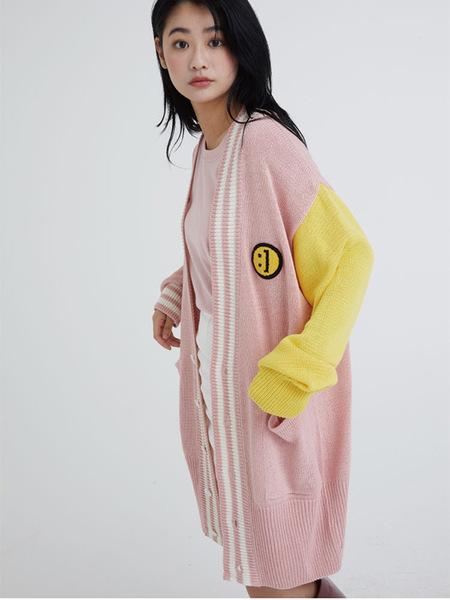 Unisex MSKN2ND Smile Long Cardigan - Pink