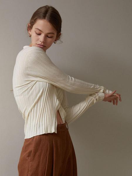 H8 Stella Silk Knit Cardigan - Cream