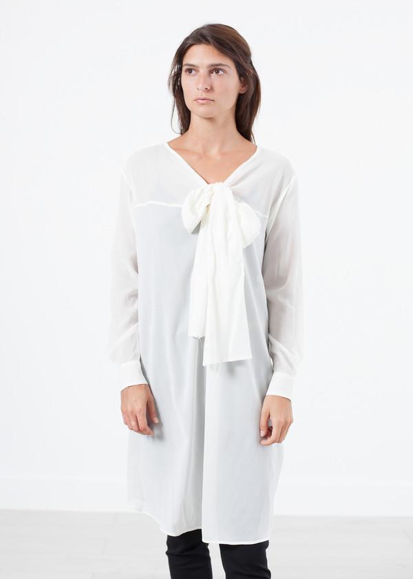 Ter et Bantine Sheer Tie Neck Dress in White