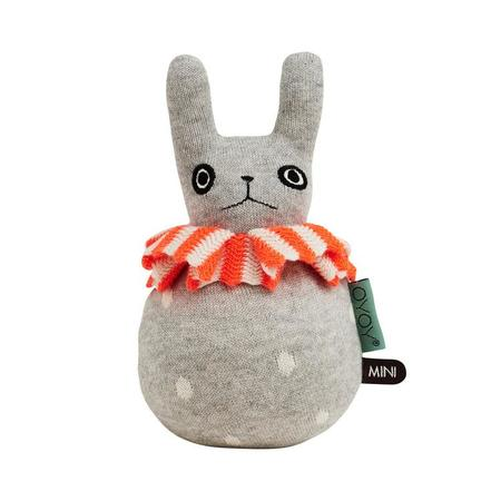 OYOY Roly Poly Rabbit Rattle - gray