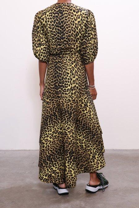 Ganni Printed Wrap Dress - Minion Yellow