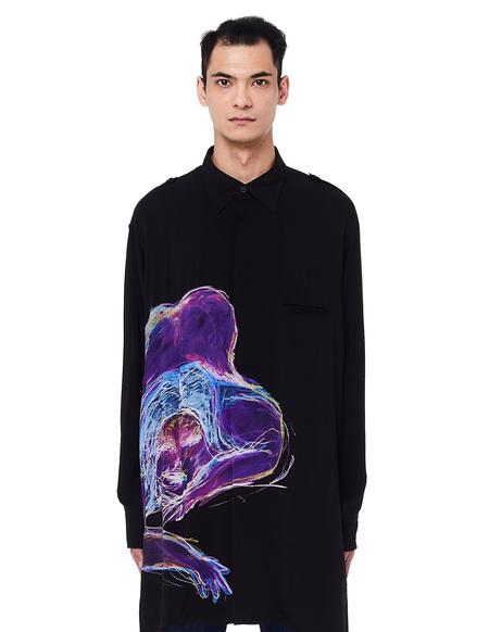 Yohji Yamamoto Printed Rayon Shirt - Black