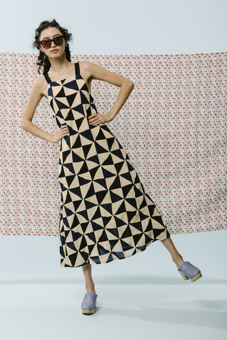 Carleen Picnic Dress With Tie in Patchwork