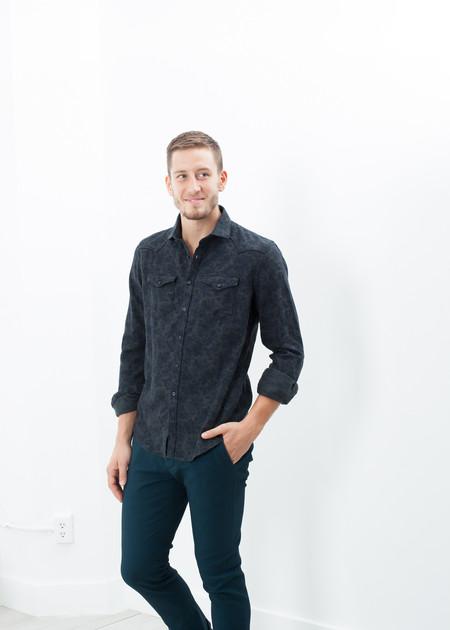 Men's Aglini Western Arkansas Button-Up in Dark Hash Floral